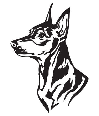 Decorative portrait in profile of dog Miniature Pinscher, vector isolated illustration in black color on white background
