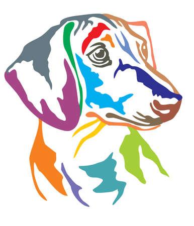 Buntes dekoratives Porträt im Profil des Hundedackels, Vektorillustration in den verschiedenen Farben lokalisiert auf weißem Hintergrund Vektorgrafik