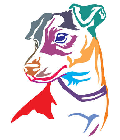 Colorful decorative portrait in profile of dog Jack Russell Terrier, vector illustration in different colors isolated on white background