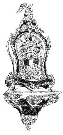 Ancient carving baroque clock, vector hand drawing illustration in black color isolated on white background