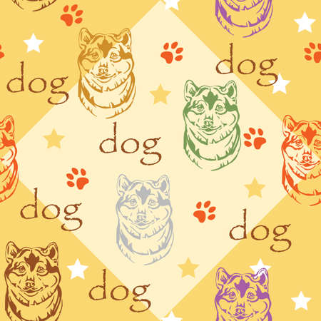 Colorful vector seamless pattern with stars, paws and decorative portrait of dog shiba inu, on yellow background  イラスト・ベクター素材