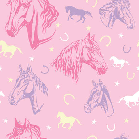 Colorful vector seamless pattern with stars, horseshoes and decorative portraits of horses, on pink background