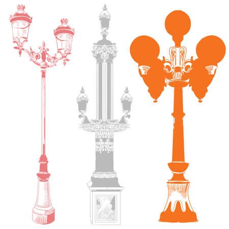 Set of ancient lanterns and decorative element isolated vector hand drawing illustration in different colors on white background. Part 9