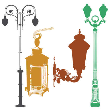 Set of ancient lanterns and decorative element isolated vector hand drawing illustration in different colors on white background. Part 10