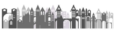 Vecor panorama with monochrome cartoon castle with towers, in European style isolated on white background. Silhouette of castle in black and grey colors. Illustration