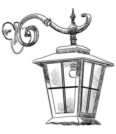 Hand drawing old hanging lantern vector monochrome illustration in black color isolated on white background Illustration