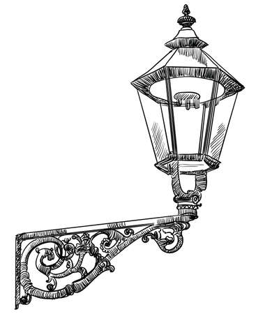 Hand drawing old street lamp vector monochrome illustration in black color isolated on white background