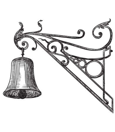 Ancient carving street bell, vector hand drawing illustration in black color isolated on white background