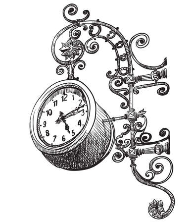 Ancient carving clock, vector hand drawing illustration in black color isolated on white background Ilustração