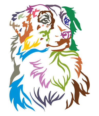 Colorful decorative portrait of dog Australian shepherd, vector illustration in different colors isolated on white background Stock fotó - 109997656