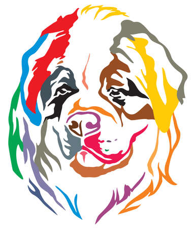 Colorful decorative portrait of dog St. Bernard, vector illustration in different colors isolated on white background Иллюстрация
