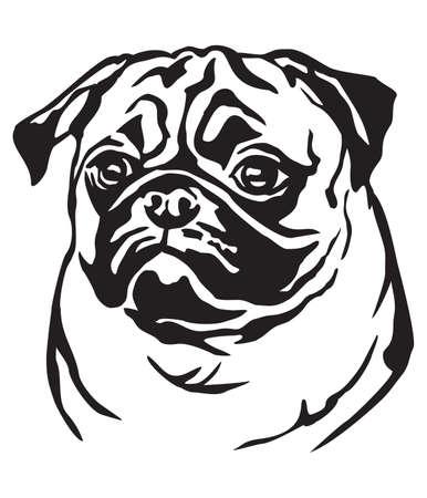 Retrato decorativo de perro Pug, vector ilustración aislada en color negro sobre fondo blanco. Ilustración de vector