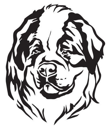 Decorative portrait of dog St. Bernard, vector isolated illustration in black color on white background 向量圖像
