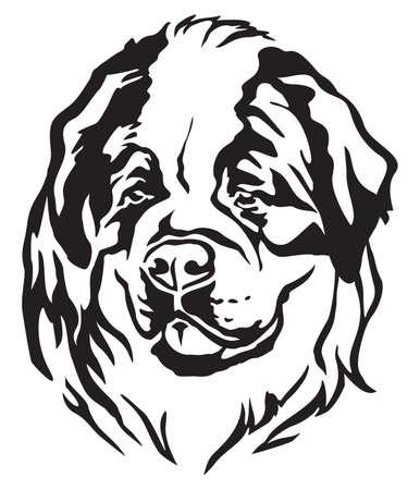 Decorative portrait of dog St. Bernard, vector isolated illustration in black color on white background Illustration