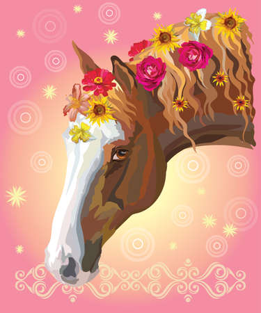 Vector colorful illustration. Portrait of chestnut horse with different flowers in mane isolated on pink gradient background with decorative ornament and circles. Image for art and design