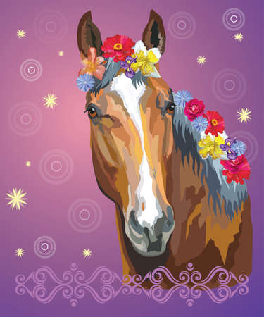 Vector colorful illustration. Portrait of bay horse with different flowers in mane isolated on purple gradient background with decorative ornament and circles. Image for art and design