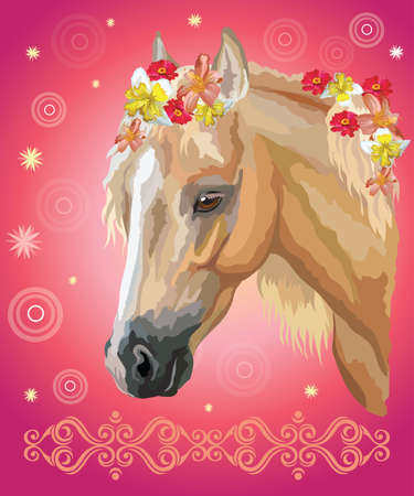 Vector colorful illustration. Portrait of palomino horse with different flowers in mane isolated on pink gradient background with decorative ornament and circles. Image for art and design