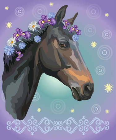 Vector colorful illustration. Portrait of black horse with different flowers in mane isolated on purple gradient background with decorative ornament and circles. Image for art and design
