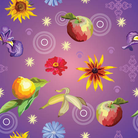 Vector colorful illustration. Seamless pattern with flowers and fruits lemon, banana, apple, sunflower, , isolated on purple gradient background with decorative ornament. Image for art and design
