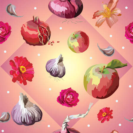 Vector colorful illustration. Seamless pattern with different flowers, vegetables and fruits apple, rose, garlic, pomegranate, isolated on pink gradient background. Image for art and design