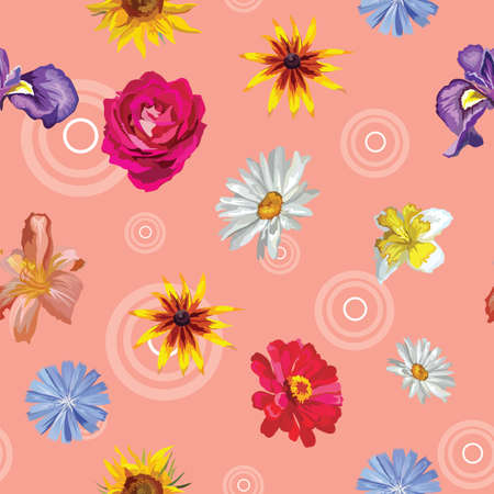 Vector colorful illustration. Seamless pattern with different flowers sunflower, Iris, rose,  Narcissus, Chamomilla  isolated on pink background with decorative circles. Image for art and design