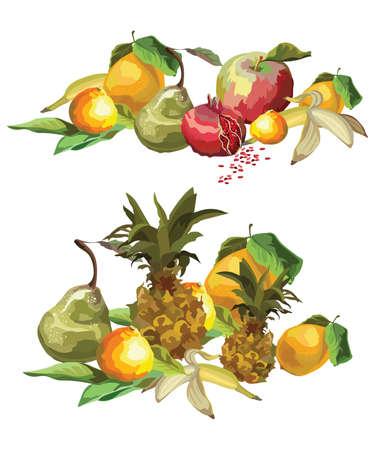 Vector colorful image group of tropical fruits (pineapple, pear, Apple, lemon, orange, banana, pomegranate). Illustration for art and designe isolated on white background.