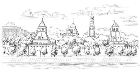 Cityscape of embankment of Kremlin towers and Moscow river (Red Square, Moscow, Russia) isolated vector hand drawing illustration in black color on white background