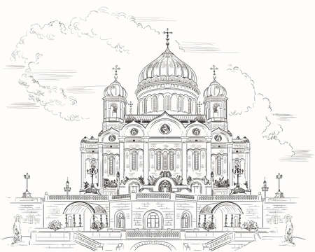 Cityscape of Cathedral of Christ the Saviour (Moscow, Russia) isolated vector hand drawing illustration in black color on white background
