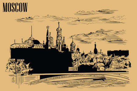 Cityscape of embankment of Kremlin towers and bridge across Moscow river (Red Square, Moscow, Russia) isolated vector hand drawing illustration in black color on beige background