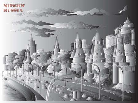 Paisaje urbano del terraplén de las torres del Kremlin y el río Moscú (Plaza Roja, Moscú, Rusia) ilustración de dibujo a mano vectorial aislado en colores degradados en blanco y negro