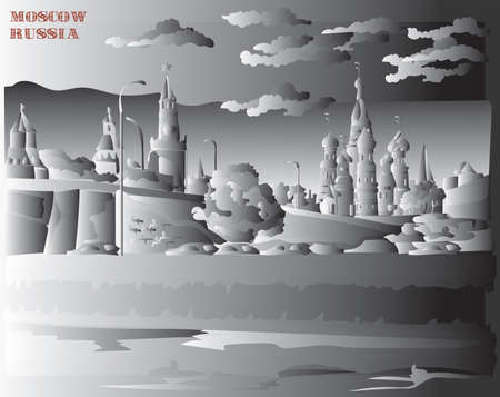 Cityscape of embankment of Kremlin towers and bridge across Moscow river (Red Square, Moscow, Russia) isolated vector hand drawing illustration in black and white gradient colors
