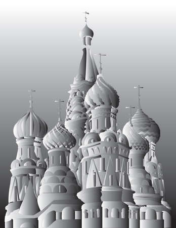 Saint Basils Cathedral of Kremlin (Moscow, Russia) isolated vector hand drawing illustration in black and white gradient colors Ilustração