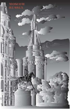 Stadtbild des Kremlturms, des Staatlichen Historischen Museums und des Denkmals für Marschall Schukow (Roter Platz, Moskau, Russland) Vektorhandzeichnung in Schwarz-Weiß-Farbverlauf