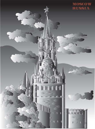 Cityscape of Kremlin Spasskaya tower (Red Square, Moscow, Russia) isolated vector hand drawing illustration in black and white gradient colors