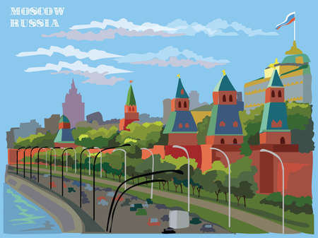Cityscape of embankment of Kremlin towers( International Landmark Red Square, Moscow, Russia). Colorful vector illustration.
