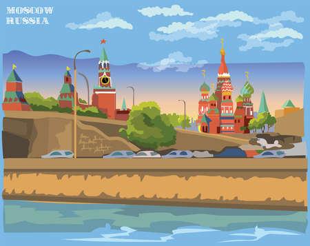 Stadtbild des Damms der Kreml-Türme und der Brücke über den Moskauer Fluss (Internationales Wahrzeichen Roter Platz, Moskau, Russland). Bunte Vektorillustration.