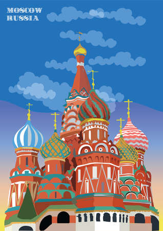 Saint Basils Cathedral of Kremlin (Moscow, Russia) isolated vector illustration in different colors on blue background Иллюстрация