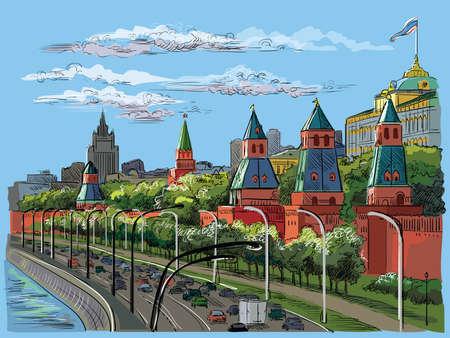 Paisaje urbano del terraplén de las torres del Kremlin y el río Moscú (Plaza Roja, Moscú, Rusia) Ilustración de dibujo a mano colorido vector aislado.