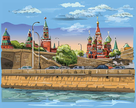 Cityscape of embankment of Kremlin towers and bridge across Moscow river (Red Square, Moscow, Russia) Colorful isolated vector hand drawing illustration.