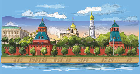Cityscape of embankment of Kremlin towers and Moscow river (Red Square, Moscow, Russia) Colorful isolated vector hand drawing illustration.