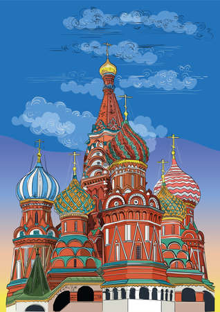 Saint Basils Cathedral of Kremlin (Moscow, Russia). Colorful isolated vector hand drawing illustration.
