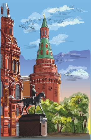 Cityscape of Kremlin tower, State Historical Museum and Monument to Marshal Zhukov (Red Square, Moscow, Russia). Colorful isolated vector hand drawing illustration. Banque d'images - 111567533