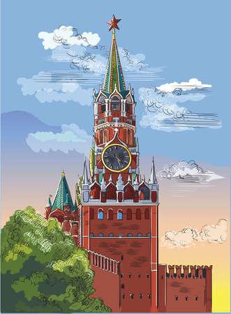Paisaje urbano de la torre Kremlin Spasskaya (Plaza Roja, Moscú, Rusia). Ilustración de dibujo a mano colorido vector aislado.