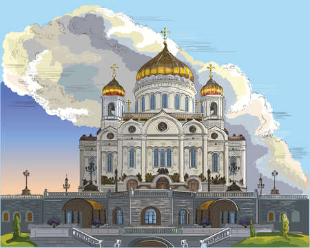 Cityscape of Cathedral of Christ the Saviour (Moscow, Russia). Colorful isolated vector hand drawing illustration.