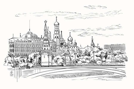 Cityscape of embankment of Kremlin towers and bridge across Moscow river (Red Square, Moscow, Russia) isolated vector hand drawing illustration in black color on white background Vektorgrafik