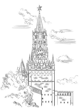 Cityscape of Kremlin Spasskaya tower (Red Square, Moscow, Russia) isolated vector hand drawing illustration in black color on white background Иллюстрация
