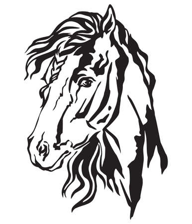 Decorative portrait in profile of beautiful horse with long mane, isolated vector illustration in black color on white background. Image for design and tattoo. 스톡 콘텐츠 - 112399718