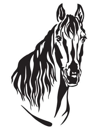 Decoratief portret van mooi paard met lange manen, geïsoleerde vectorillustratie in zwarte kleur op witte achtergrond. Afbeelding voor ontwerp en tatoeage. Vector Illustratie
