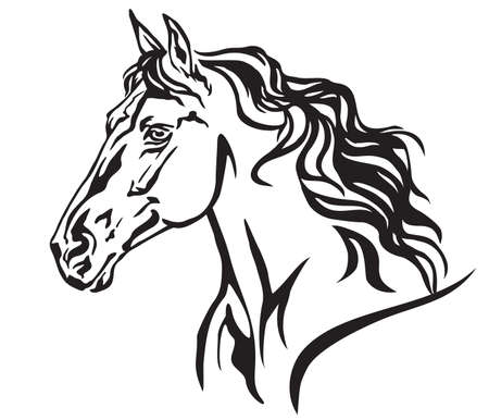 Decorative portrait in profile of beautiful running horse with long mane, isolated vector illustration in black color on white background. Image for design and tattoo. Çizim