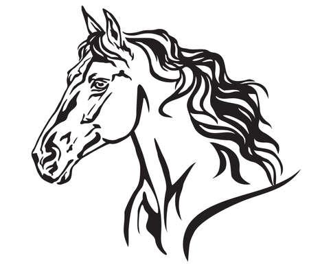 Ozdobny portret w profilu piękny biegnący koń z długą grzywą, na białym tle ilustracji wektorowych w kolorze czarnym na białym tle. Obraz do projektowania i tatuażu. Ilustracje wektorowe